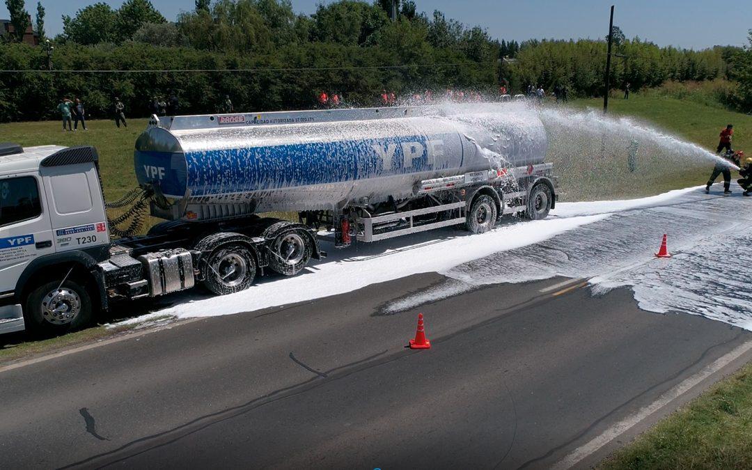 Simulacro de accidente con unidad de Logística Diesel S.A.