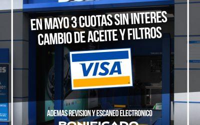 Mayo pagá en 3 cuotas sin interés con Visa el cambio de aceite en Boxes.