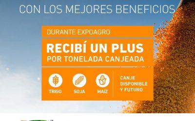 Canjeá granos durante Expoagro 2020 y recibí un PLUS por tonelada.